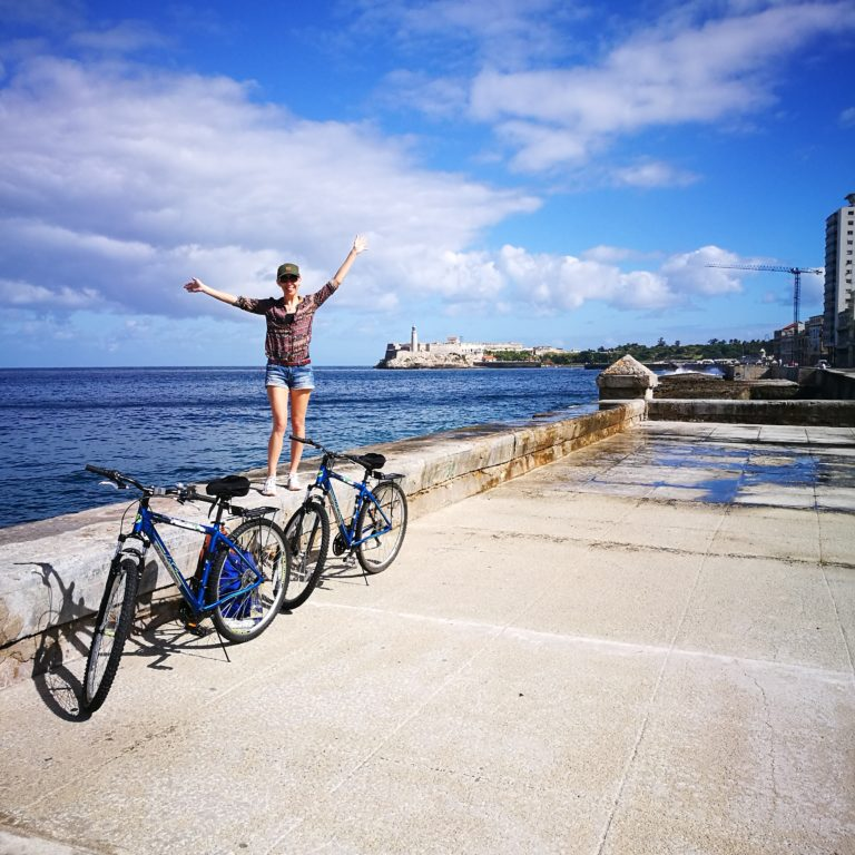 First day cycling in Cuba, along the Malecon, Havana  Taking used bikes from Canada to Cuba