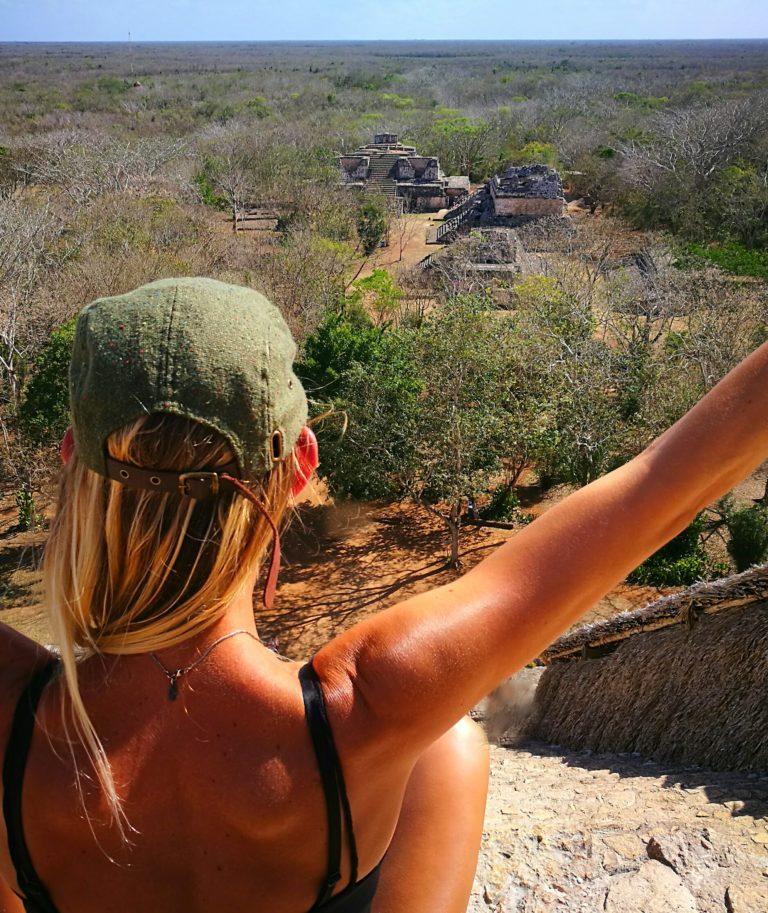 Enjoying the views at the ruins of Ek Balam, Mexico