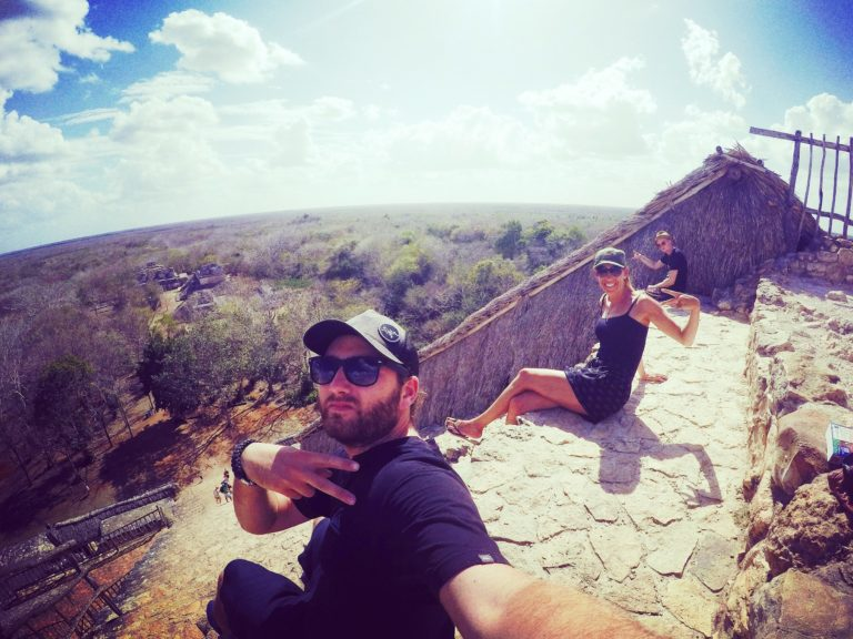 Chilling together atop the ruins of Ek Balam - Road Tripping In The Yucatan, Mexico