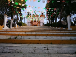 Stairs leading up to the Inglesia de Guadalupe and one of the many viewpoints and things to see in San Cristobal de las Casas, Mexico