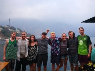 Hanging out with friends at Hostel Fe, San Pedro La Laguna, Lake Atitlan, Guatemala