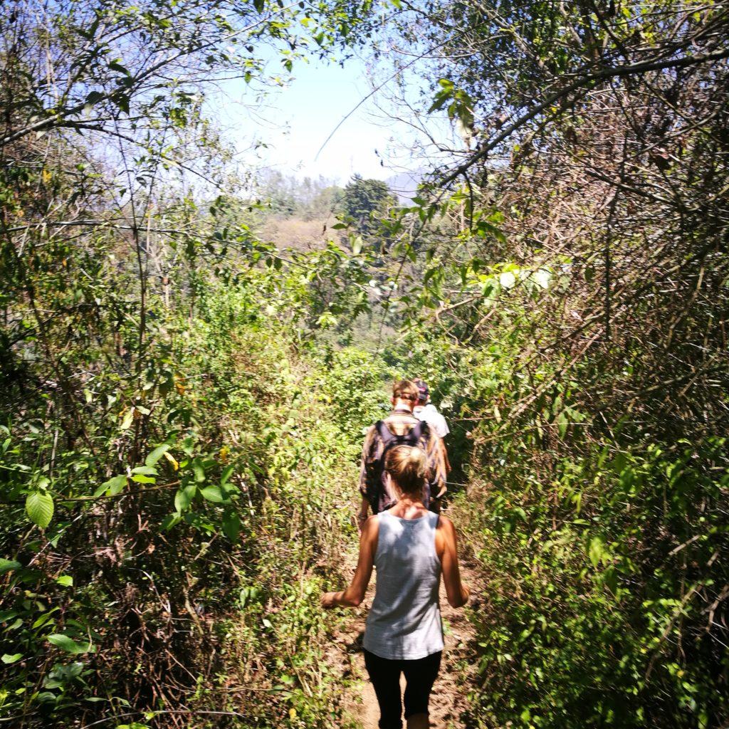 Enjoying some of the more shaded parts of the Indian Nose hike from San Pedro La Laguna to Santa Maria, Lake Atitlan, Guatemala