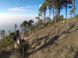 Making our way back down, Volcan de Acatenango hike, near Antigua, Guatemala