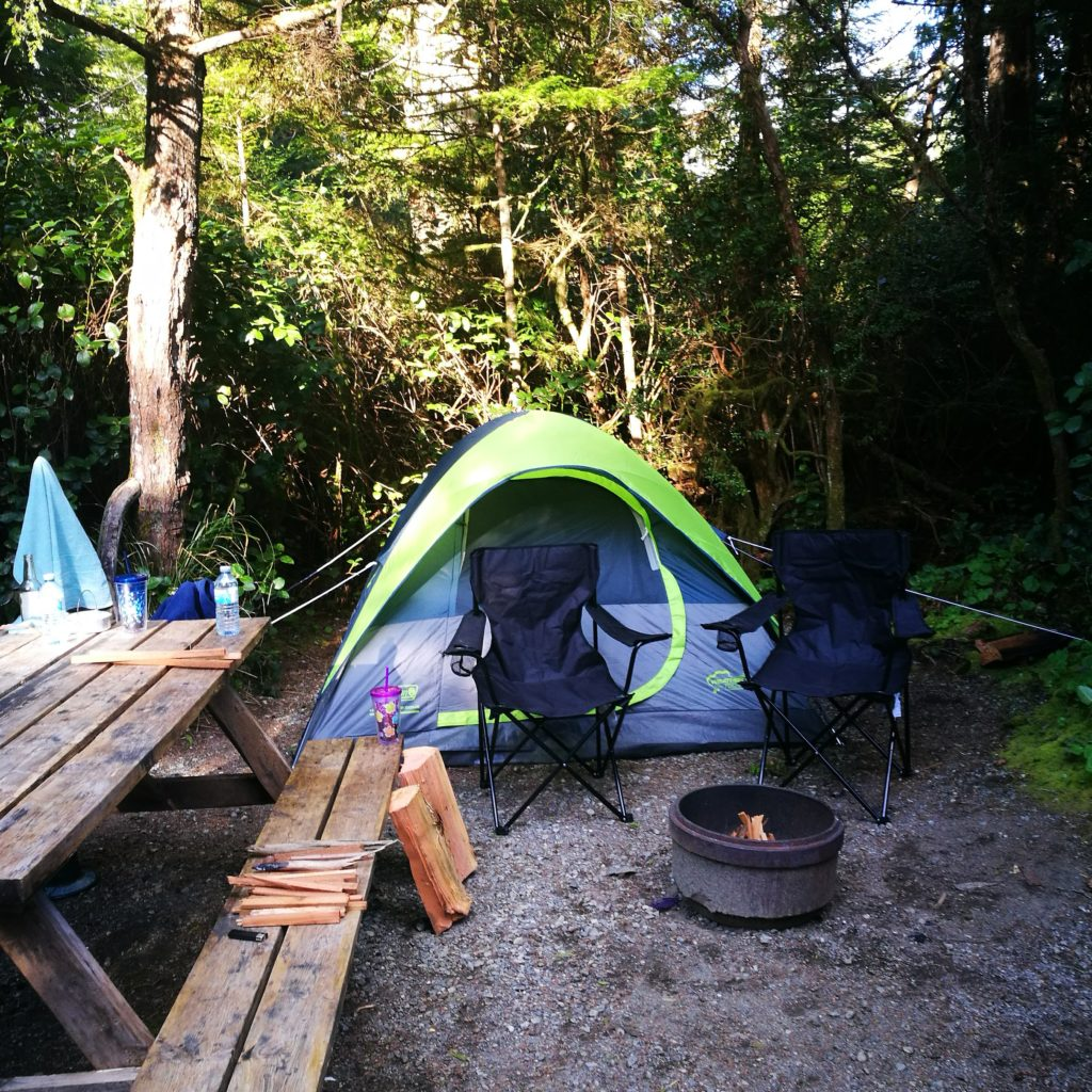 Tofino Camping - Our cosy camp spot at Bella Pacifica Campground