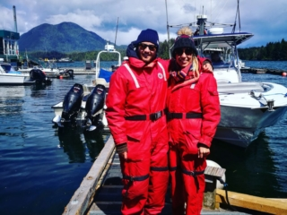 All ready for our whale watching tour, Tofino, British Columbia, Canada