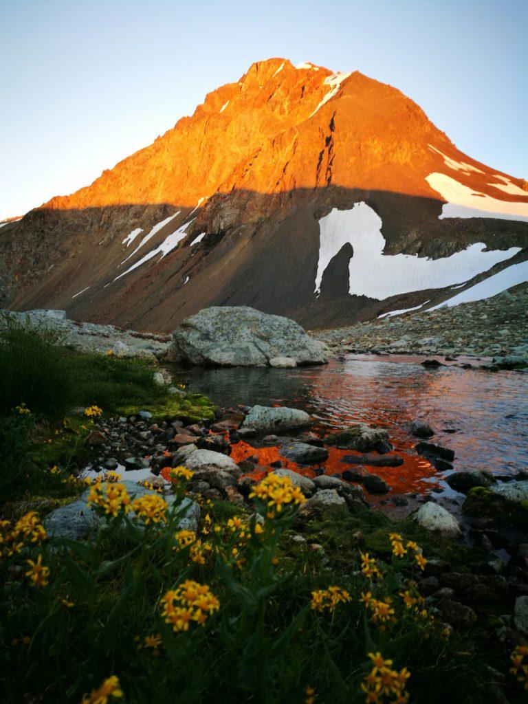 The mountains lit up at sunset, Russet Lake - Whistler hiking