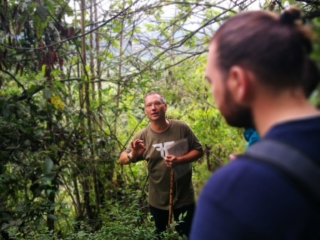 Carlos taking us on an informative tour of Kasaguadua's grounds, Salento, Colombia