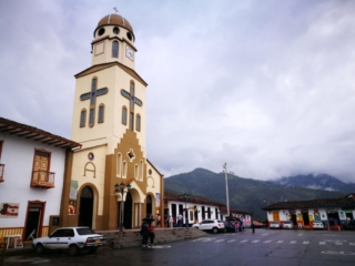 Hanging out at Salento's main square, Colombia