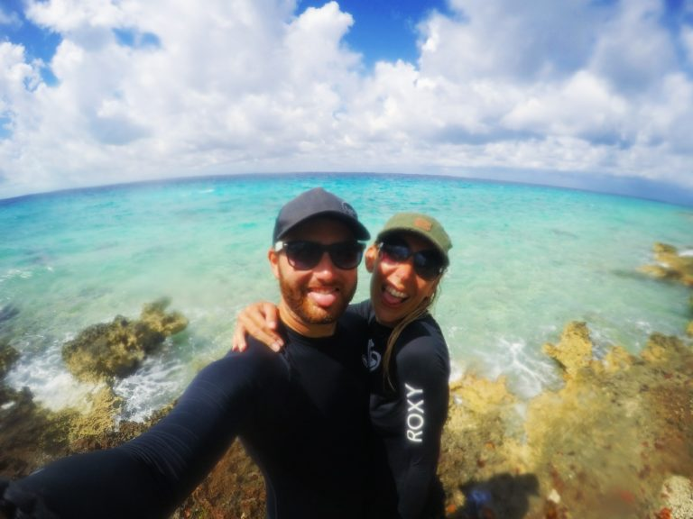 Arriving at a snorkel spot in Cuba with the rash vests - Backpacking Essentials