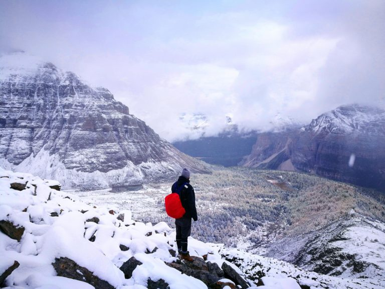 Using the Waterproof cover to protect against the snow whilst adventuring in Banff National Park, Canada