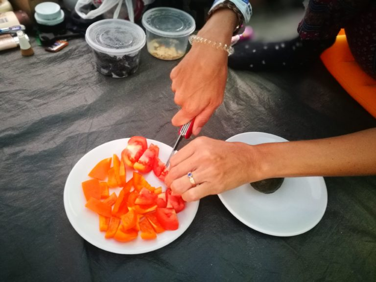 Preparing a few veggie snacks with the Swiss Army Knife whilst camping in Mexico