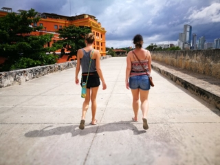 Destination Addict - With our friend Karlie, walking the old city walls, Cartagena, Colombia