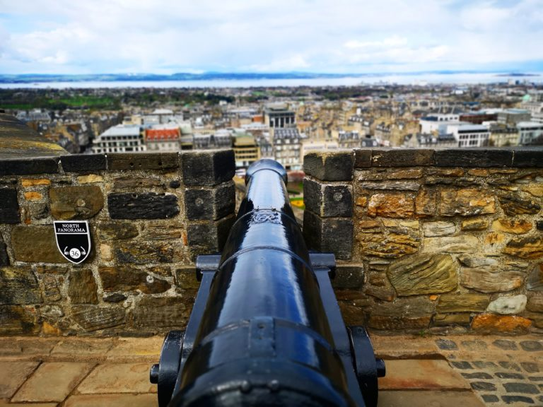 Taking in the views from behind one of the cannons