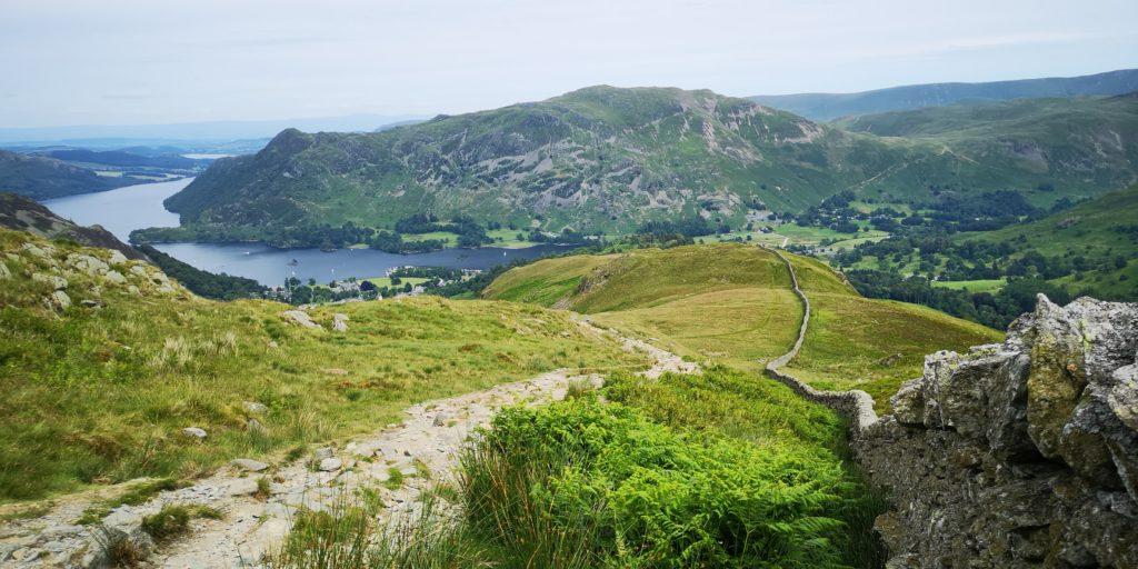 Helvellyn Three Peaks Challenge - Looking over Ullswater & Glenridding, Lake District, UK